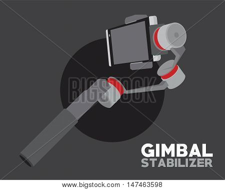 gimbal stabilizer for smartphone camera vector illustration