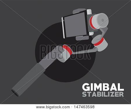 gimbal stabilizer for smartphone camera vector illustration