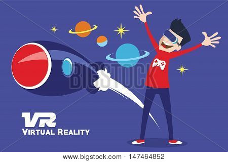 VR virtual reality simulator device by illustration vector