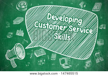 Developing Customer Service Skills on Speech Bubble. Hand Drawn Illustration of Shouting Megaphone. Advertising Concept.