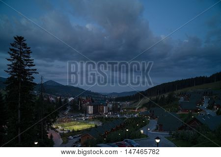 Life of a small town in the evening. Bukovel resort town in Ukraine.