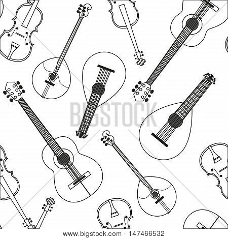 Vector illustration Seamless pattern with musical string instruments. Black-and-white drawing line background acoustic Orchestra