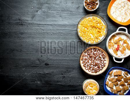 Healthy Breakfast. Different cereals with a milk.
