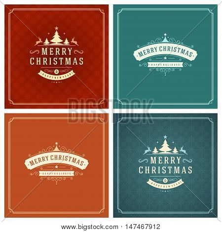 Christmas Typography Greeting Cards Design Set. Merry Christmas and Holidays wishes retro style vintage ornament decoration. Texture Snowflakes pattern background and Frame Vector illustration EPS 10.