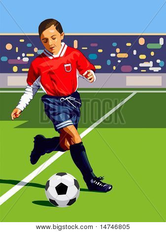 Young Soccer player dribbling the ball during a game - VECTOR