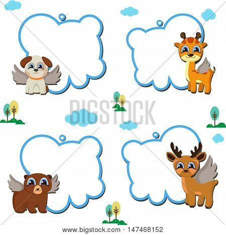 animal faces text frames clip art set. Blank frames with cartoon animals holding up the frames. Vector cartoon animals: fox, bear, deer, hare