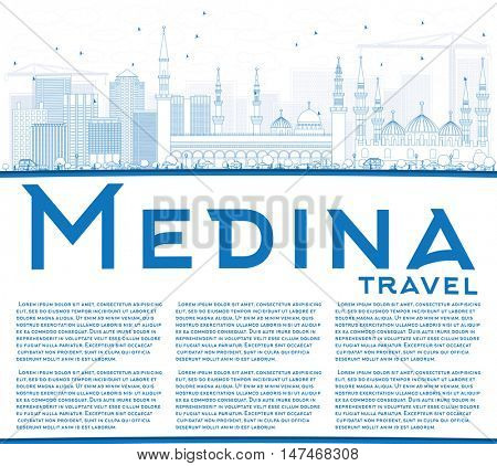 Outline Medina Skyline with Blue Buildings and Copy Space. Vector Illustration. Business Travel and Tourism Concept with Historic Buildings. Image for Presentation Banner Placard and Web Site.