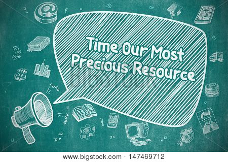 Time Our Most Precious Resource on Speech Bubble. Hand Drawn Illustration of Screaming Megaphone. Advertising Concept.