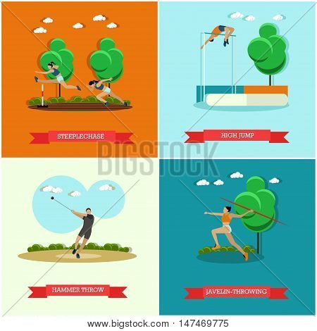 Vector set of track and field athletics. Steeplechase, high jump, javelin throw and hammer throw. Male and female athletes. Olympics sports. Flat design