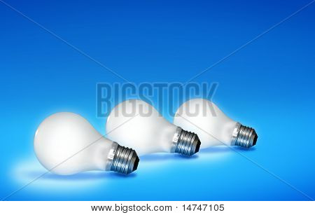 White light bulbs lit over a colorful blue background