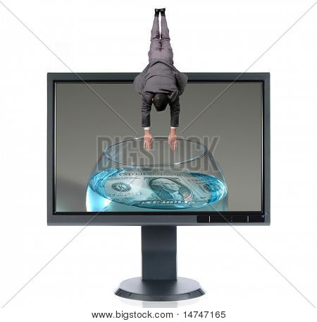 LCD monitor and diver isolated over a white background