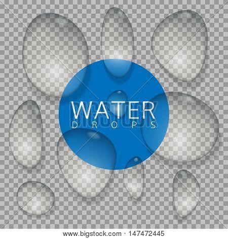 Water drop set on transparent background. Vector illustration