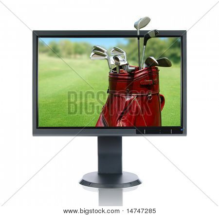 LCD monitor and golf bag isolated over a white background