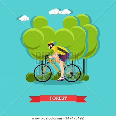 Vector illustration of cyclist riding on bike in the forest. Sports equipment, helmet, gloves, glasses, sneakers and bicycle. Forest landscape. Flat design