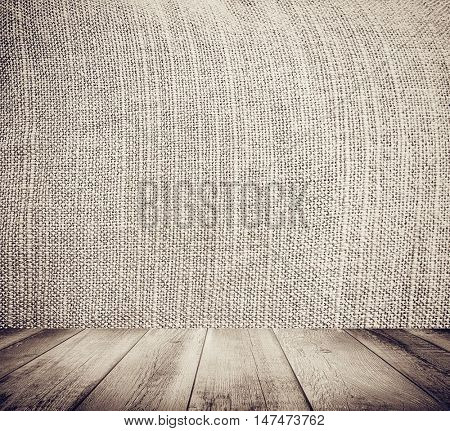 Perspective and closeup view to abstract space of empty light yellow natural clean linen texture for the traditional background in warm rural and grunge colors