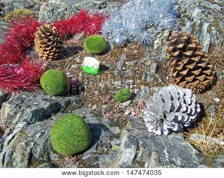 Beautiful Christmas decorations - pinecones, moss, stones