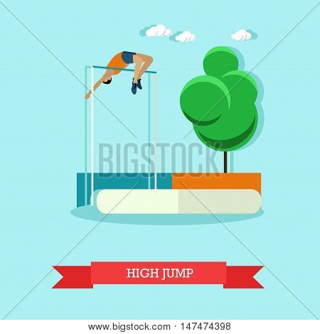 Vector illustration of sportsman jumping high jump. Track and field athletics competitions. High jumper leaping over the bar. Flat design