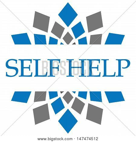 Self help text written over grey blue background.