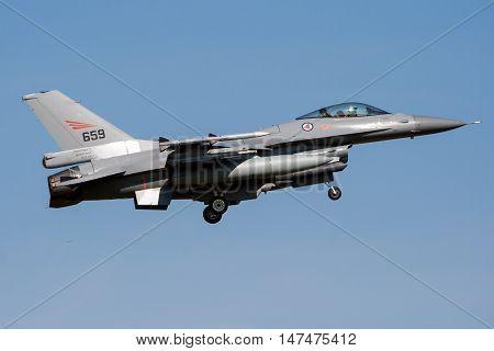LEEUWARDEN THE NETHERLANDS - Royal Norwegian Air Force F-16 fighter jet landing on Leeuwarden airbase.