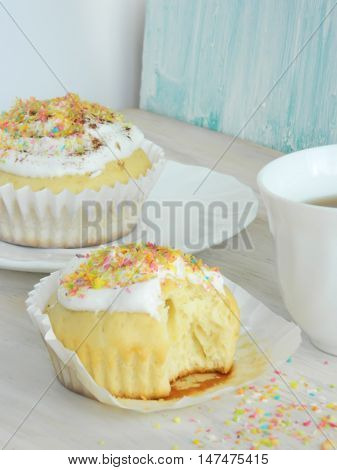Sweet Homemade Cupcakes With Coconut Shavings