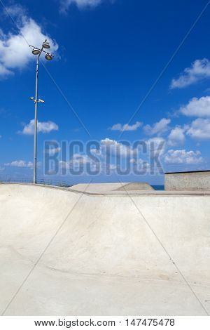 Empty Public skate park by the beach
