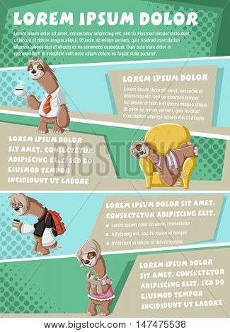 Vector brochure backgrounds with lazy cartoon sloths. Infographic template design.