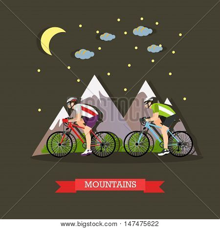 Vector illustration of two cyclists riding on bikes in the mountains. Sports equipment, helmet, gloves, glasses, sneakers and bicycles. Mountain landscape. Flat design