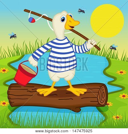 goose goes fishing - vector illustration, eps