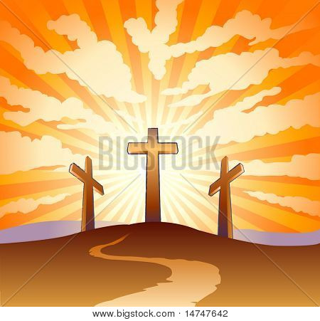 Three crosses on a hill with clouds with sunburst background