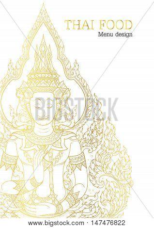 Thai food restaurant white and gold vector illustration