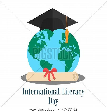 Globe with graduation hat and diploma. International literacy day design