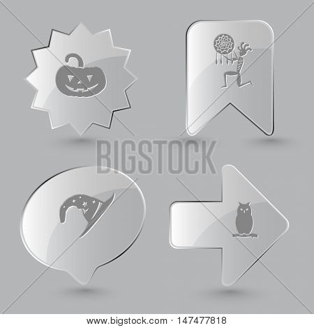 4 images: pumpkin, ethnic little man as shaman, astrologer's hat, owl. Mystic signs set. Glass buttons on gray background. Vector icons.
