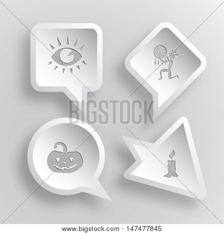 4 images: eye, ethnic little man as shaman, pumpkin, candle. Mystic signs set. Paper stickers. Vector illustration icons.