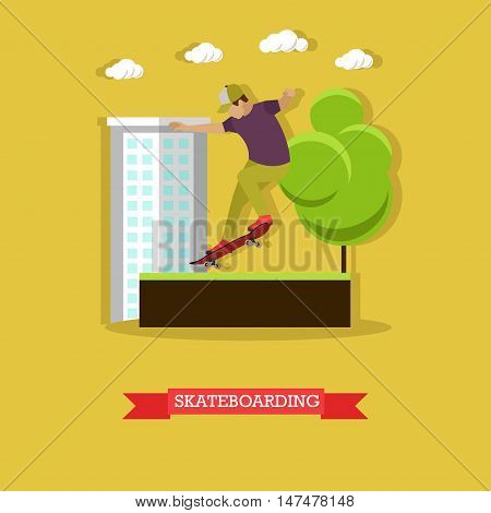 Skateboarder performing stunt in the skatepark on the street. Guy doing a lipslide at ramp. Extreme sport. Flat design vector illustration