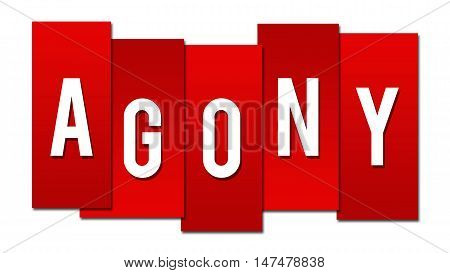 Agony text alphabets written over red background.
