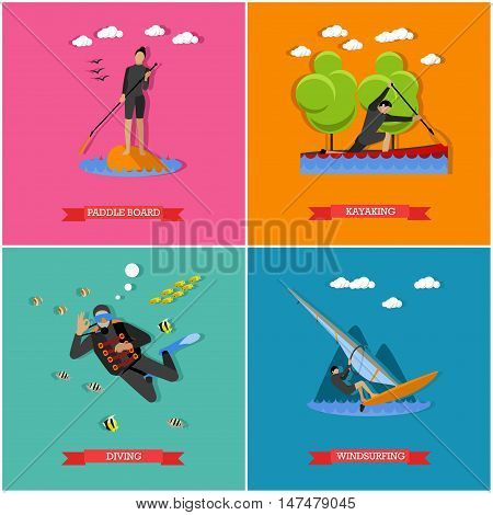 Vector set of water sports. Scuba diving, stand up paddle, kayaking and windsurfing. Summer activities, active lifestyle. Flat design