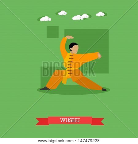 Wushu fighter shows his skills. National martial art from China. Vector illustration in flat design