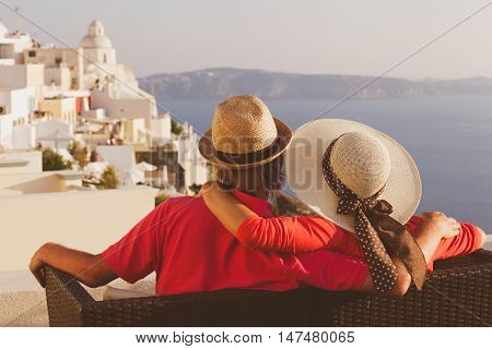 happy young couple on vacation in Santorini, Greece