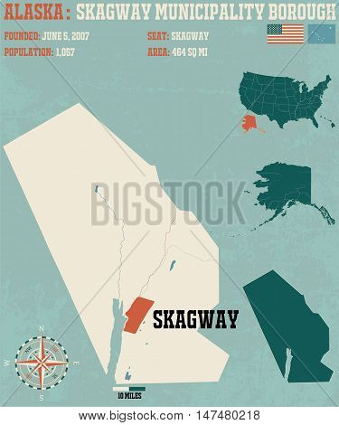 Large and detailed map and infographic of Skagway Census Area in Alaska.