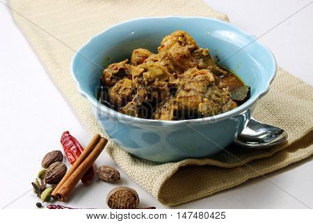 Spicy and aromatic Chicken curry in a bowl with aromatic spices with copy space.