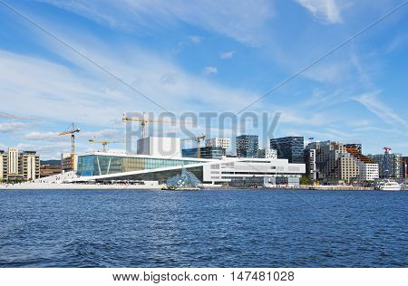 OSLO, NORWAY - AUGUST 27, 2016: The Norwegian National Opera & Ballet and Barcode in Oslo.