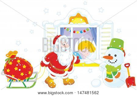 The night before Christmas, Santa Claus bringing his holiday presents for a little boy sleeping in his bedroom