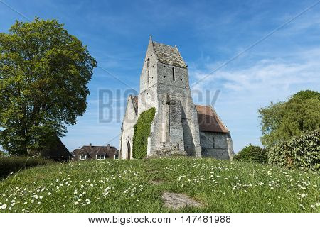 The medieval church l' Eglise St. Martin de Cricqueboeuf Calvados Normandy France