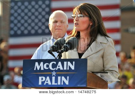 O'FALLON - AUGUST 31: Saran Palin speaks as Senator McCain looks on at an appearance in O'Fallon near St. Louis, MO on August 31, 2008