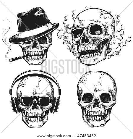 Set of hand drawn skulls isolated on white background. Vector illustration