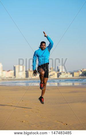 Athlete Doing Power Skips Before Running