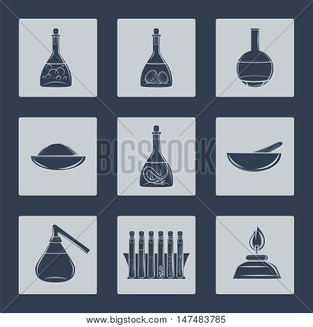 Science lab equipment icons set vector illustration