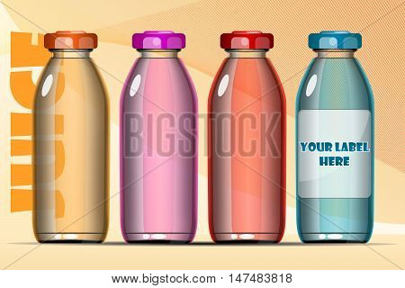 Vector set of transparent glass or plastic orange, blue, red and pink liquid bottle with caps for juice mockup ready for your design