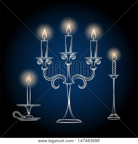 Hand drawn gothic antique chandeliers sketch with light - chandeliar sketch vector illustration