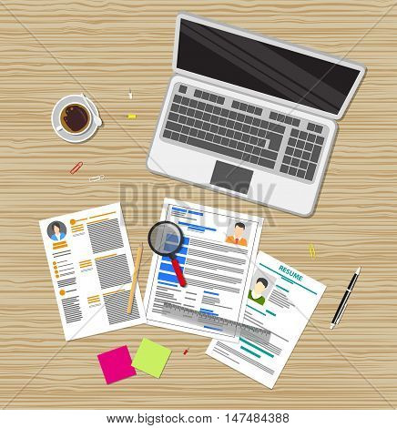 Human resources management concept, searching professional staff, work, analyzing resume, documents, laptop, magnifying glass, sticky notes, pen. vector illustration in flat design on wooden desk
